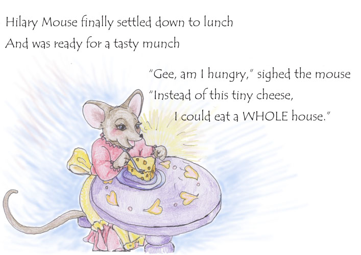 Hilary Mouse settles down to lunch